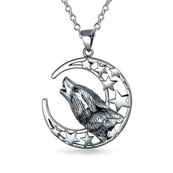 Howling Wolf Crescent Moon Pendant Werewolf Necklace Sterling Silver