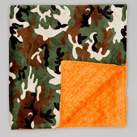 Camo & Orange Minky 28'' x 32'' Blanket | something special every day