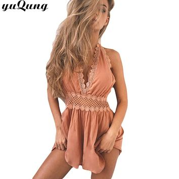 yuqung V neck chiffon jumpsuit romper women hollow out lace halter backless beach short overalls streetwear playsuit leotard F68