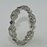 Platinum and Diamond, Sapphire Art Deco Design Wedding Band