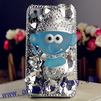 iphone 4s case, iphone 5 case, iphone 4 case, samsung s3 case, 3D case, handmade - smurfs - crystal