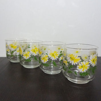 Vintage Retro Libbey Daisy Drinking/Juice Glasses - Green, White, and Yellow Glasses - Set of 4 - Retro