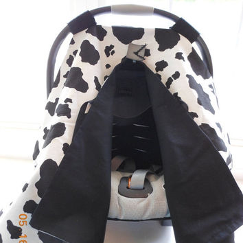 JULY SALE Infant Car Seat canopy cover Cuddler -- MADE To Order -- Cow Print in black and white