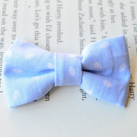 Fabric Blue Bow, Bows, Simple Print, Blue Accessories, Party Favors, Birthday Gift, Little Girl Hair Clips
