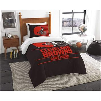 """Browns OFFICIAL National Football League, Bedding, """"""""Draft"""""""" Printed Twin Comforter (64""""""""x 86"""""""") & 1 Sham (24""""""""x 30"""""""") Set  by The Northwest Company"""