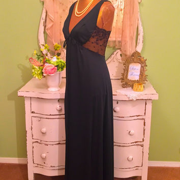 70s Bombshell Nightgown, 1970s Black Lace Nightie, Romantic Nightdress, Ralph Montenero Lingerie, Luxurious Nightwear, Bridal Peignoir, Sm