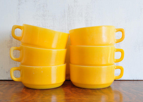 Vintage Fire King Yellow Soup Bowls, Set from HedgehogAndOwl on