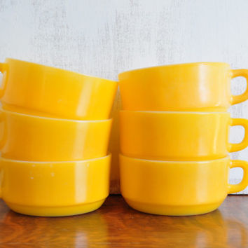 Vintage Fire King Yellow Soup Bowls, Set of Six, Large Milk Glass Mugs