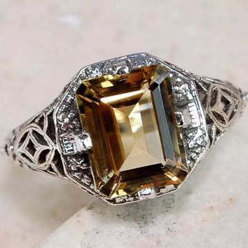 Victorian Citrine sterling silver ring size 9
