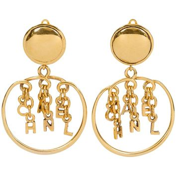 Chanel Goldtone Dangling Letter Earrings