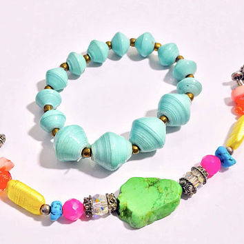Set of 2 Vtg Bracelets / Light Aqua Blue Beaded Stretch Bracelet / Rainbow Beaded Turquoise Dyed Howlite Gemstone / Jewelry Gifts For Her