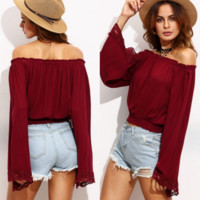 Lace Patchwork Causal T-Shirt B0014866