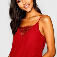 Lace Insert Woven Cami Top | Boohoo