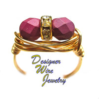 DWJ0542 Beautiful Raspberry Sherbet Czech Art Glass Duet Gold Plated Wire Wrap R