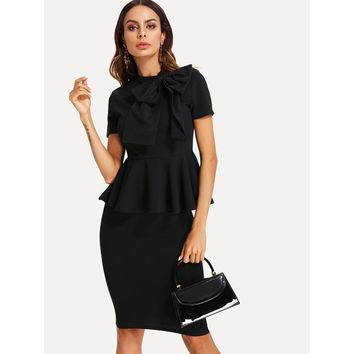 Bow Tied Neck Peplum Top And Pencil Skirt Set