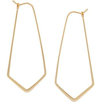 Geometric Chevron Threader Hoop Earrings  Hypoallergenic Lightweight Cutout Thin Wire Drop Dangles  Plated in 925 Sterling Silver or 24k Gold by Humble Chic NY