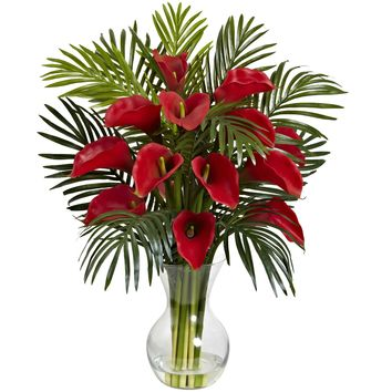 Artificial Flowers -Red Calla Lily And Areca Palm Flower Arrangement Silk Flowers