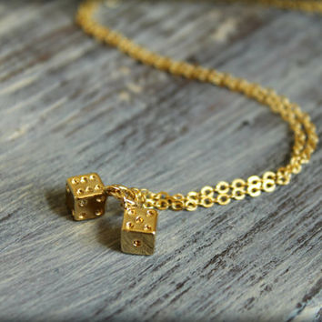 Pair of Dice Necklace in Gold