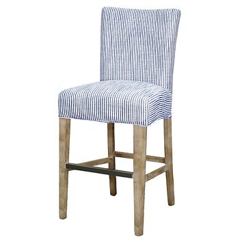 Milton Fabric Bar Stool Natural Wood Legs, Blue Stripes