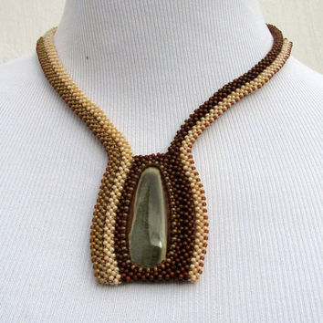 Beaded Seed Bead Necklace With Designer Cabochon in Earth Tones. Beadwoven Necklace in Brown Biege and Cream. Wearable Art Jewelry.