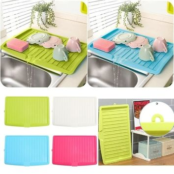 Plastic Dish Drainer Tray Large Sink Drying Rack Worktop Blue/Pink/Green/White
