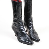 HCXX Black Christian Louboutin Crocodile Leather Heeled Calf High Boots