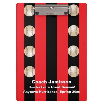 Clipboard, Black and Red Stripe, Baseball Coach Clipboard