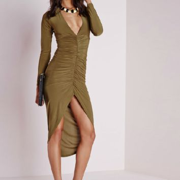 Deep V-Neck Ruched High Low Bodycon Dress