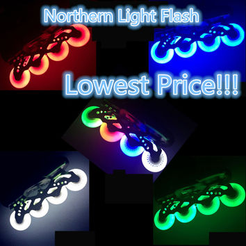 Free Shipping LED Flash Wheel 80mm 76mm 72mm 70mm 68mm 64mm for Inline Skates 90A for Adults Kids SEBA Rollerblade Roller Wheels
