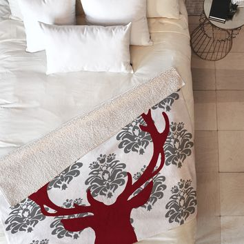 Natt Deer Damask White Fleece Throw Blanket