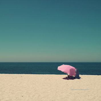 Beach photography, beach print, ocean print, minimal beach wall art, pink umbrella, people photography, turquoise blue, coastal home decor