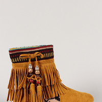 Mini-03 Fringe Beaded Tassel Round Toe Ankle Bootie