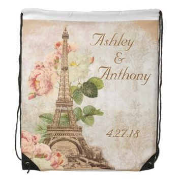Paris Pink Rose Wedding Drawstring Backpack