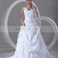 One Shoulder Beaded and Appliqued Taffeta A Line Bridal Gown with Flower