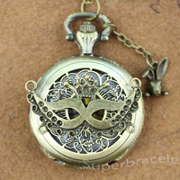 Bronze necklace - mask crown close pocket watch necklace - gift to girlfriend and BFF