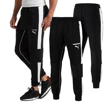 PUMA breathable sweatpants running pants pants pants casual trousers white edge-Black