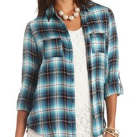 Flyaway Plaid Flannel Button-Up Top by Charlotte Russe - Blue Combo