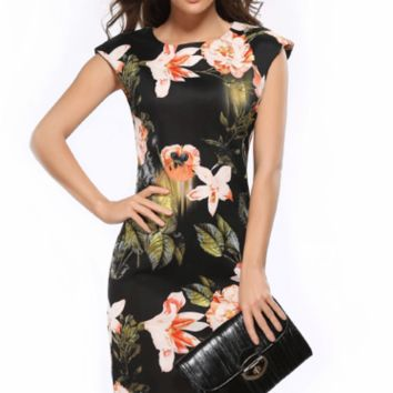 Slim Floral Print  Pencil Dress B0014920