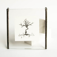 MINIATURE ORIGINAL tree DRAWING Minimalist ink illustration Unique handmade picture frame Beautiful detailed intricate nature fine art decor