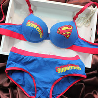 BS1 New New design push up bra panty set ladies superman style underwear