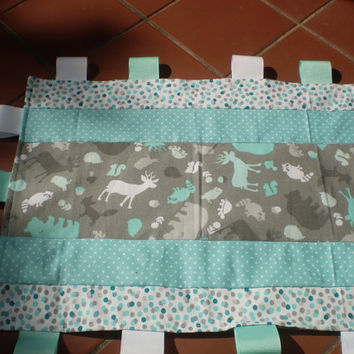 Baby taggie ribbon quilt,grey,teal,aqua,patchwork taggy,baby boy or girl taggie,woodland,rustic,deer,bear,toddler,Silhouette Taggie quilt