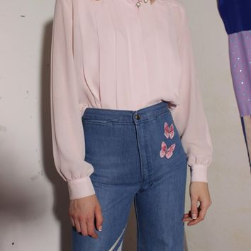 Pale Pink Sheer Blouse / S M