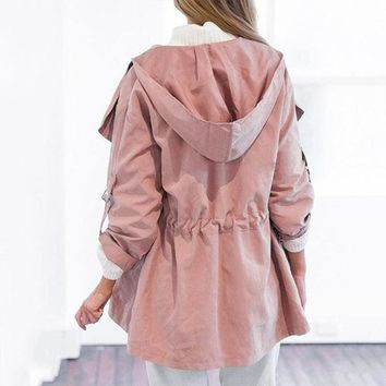 Women's Casual Solid Pink Hooded Trench Coat Drawstring Fashion Long Sleeve Windbreaker 2017 Open Stitch Outwear Trench Coat