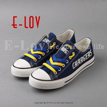 2018 Cool Design Print Canvas Shoes Los Angeles Chargers Fans Customization Lace Shoes Holiday Gift Drop Shipping