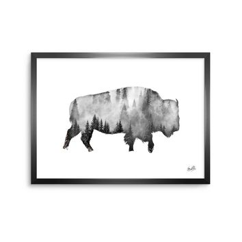 Bison - Black White Nature Digital Framed Art Print