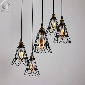 Black Vintage Metal Cage Shade Hanging Ceiling Chandelier Max. 300W with 5 Lights Painted Finish