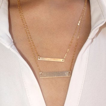 Double Gold Bar Layered Necklace Celebrity Necklace Dainty Necklace