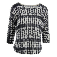 DKNYC Womens Knit Printed Pullover Sweater
