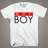 NOT BOY  Mens and Women T-Shirt Available Color Black And White