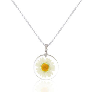 Silver Plated Round Flower Necklace, Choose Style
